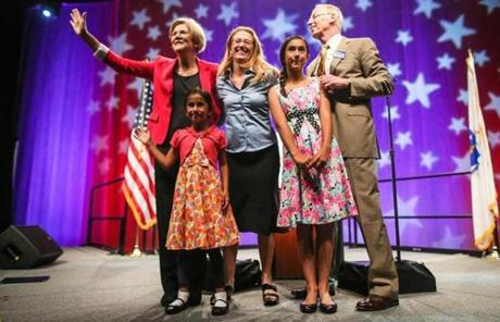 Unlike Scott Brown's children who are a regular part of his campaign, Warren's shy away from being too involved.